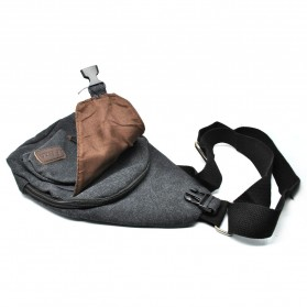 Tas Selempang Kasual Bahan Canvas - Black - 10