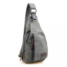 Tas Selempang Kasual Bahan Canvas - Gray