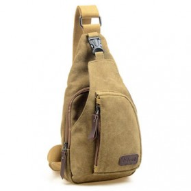 Fashi Tas Selempang Kasual Crossbody Bag Bahan Canvas - 6258185 - Khaki