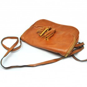 Tas Selempang Wanita Bolsas Femininas PU Leather Bag - Brown