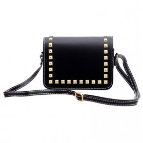 Tas Selempang Wanita Rivet Leather Bags - Black