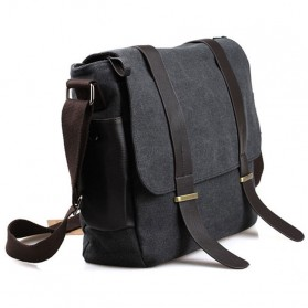 KAKA Tas Selempang Pria Korean Canvas Messenger Bag - K2642 - Black/Gray