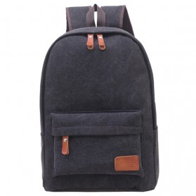 Mo&Y Tas Ransel Vintage Solid Canvas Backpack - Black