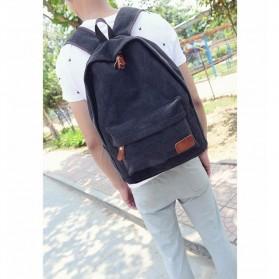 Mo&Y Tas Ransel Vintage Solid Canvas Backpack - Black - 3