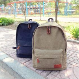 Mo&Y Tas Ransel Vintage Solid Canvas Backpack - Black - 4