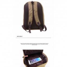 Mo&Y Tas Ransel Vintage Solid Canvas Backpack - Black - 5