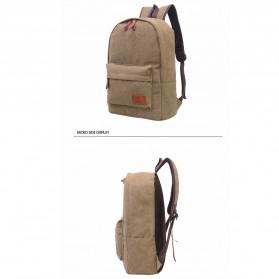 Mo&Y Tas Ransel Vintage Solid Canvas Backpack - Black - 6