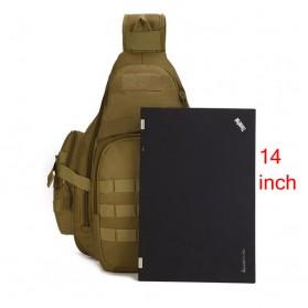 Tas Selempang Laptop Tahan Air Desain Militer - Black - 4