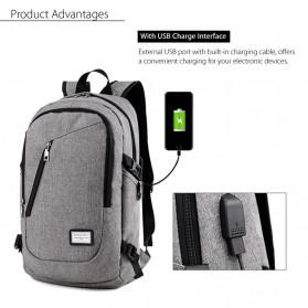 DXYIZU Tas Ransel dengan USB Charger Port - Black - 2