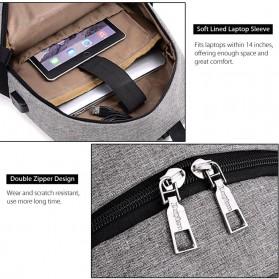 DXYIZU Tas Ransel dengan USB Charger Port - Black - 8