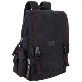 Tas Ransel Backpack Canvas - Black
