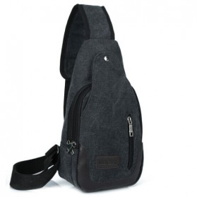 Tas Selempang Bahan Canvas - Black