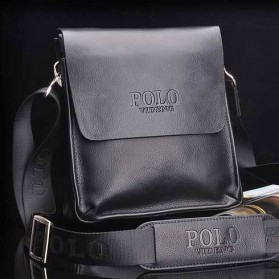 Rhodey Polo Crossbody Tas Selempang Messenger Bag Bahan Kulit Pria - PI576-1 - Black
