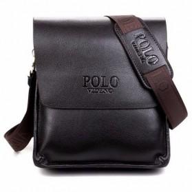 Rhodey Polo Crossbody Tas Selempang Messenger Bag Bahan Kulit Pria - PI576-1 - Black - 3