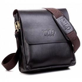 Rhodey Polo Crossbody Tas Selempang Messenger Bag Bahan Kulit Pria - PI576-1 - Black - 4