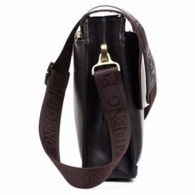 Rhodey Polo Crossbody Tas Selempang Messenger Bag Bahan Kulit Pria - PI576-1 - Black - 5