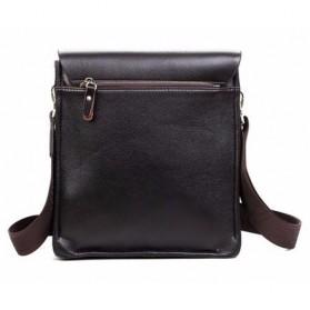 Rhodey Polo Crossbody Tas Selempang Messenger Bag Bahan Kulit Pria - PI576-1 - Black - 6