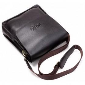 Rhodey Polo Crossbody Tas Selempang Messenger Bag Bahan Kulit Pria - PI576-1 - Black - 7