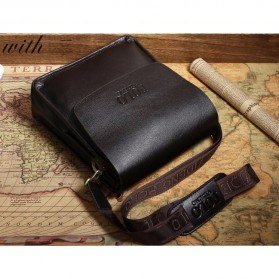 Rhodey Polo Crossbody Tas Selempang Messenger Bag Bahan Kulit Pria - PI576-1 - Black - 9