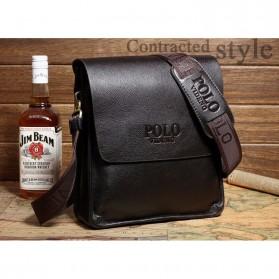 Rhodey Polo Crossbody Tas Selempang Messenger Bag Bahan Kulit Pria - PI576-1 - Black - 10