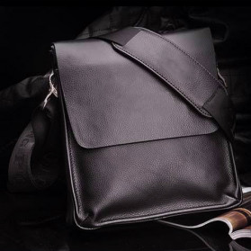 Rhodey Polo Crossbody Tas Selempang Messenger Bag Bahan Kulit Pria - PI576-1 - Brown