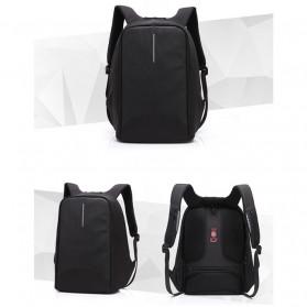 Tas Ransel Laptop dengan USB Charger Port - Black - 2