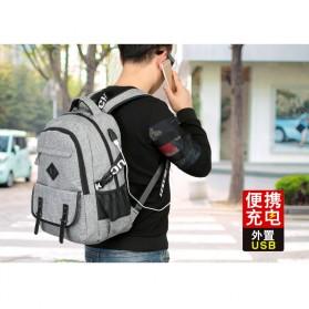 QiangHao Tas Ransel Laptop dengan USB Charger - Gray - 3