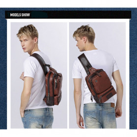 Rhodey Tas Selempang Crossbody Bag Bahan Kulit - K7713 - Dark Brown - 7