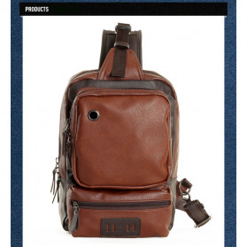 Rhodey Tas Selempang Crossbody Bag Bahan Kulit - K7713 - Dark Brown - 8