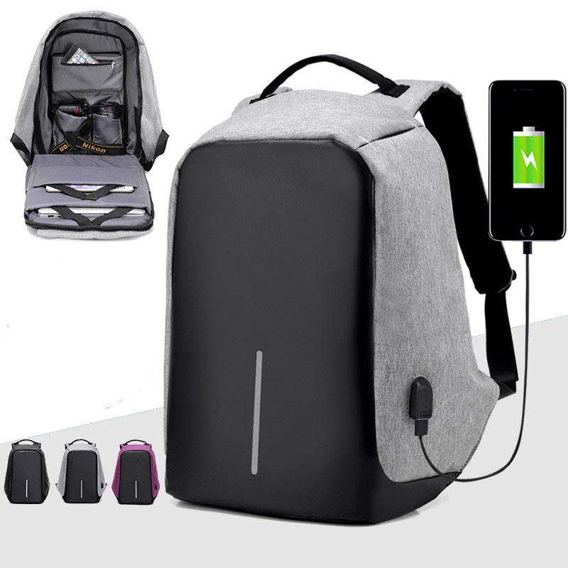 ... Tas Ransel Laptop Anti Maling dengan USB Charger Port - Gray - 1 ... 68edba3d5a