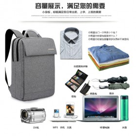 SHJLU Tas Ransel Laptop Business Style Fit To 15 Inch - ZHD-0219 - Gray - 4