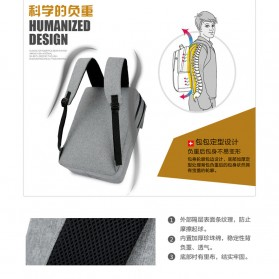 SHJLU Tas Ransel Laptop Business Style Fit To 15 Inch - ZHD-0219 - Gray - 6