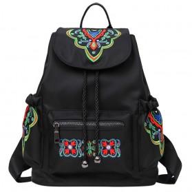 Tas Ransel Backpack Embroidered Nylon - Black