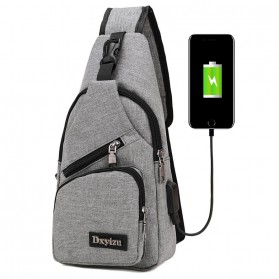 Dxyizu Tas Selempang Crossbody Bag dengan USB Charger Port - dxyz817 - Gray