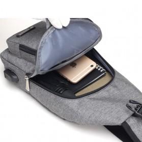 Dxyizu Tas Selempang Crossbody Bag dengan USB Charger Port - dxyz817 - Gray - 2