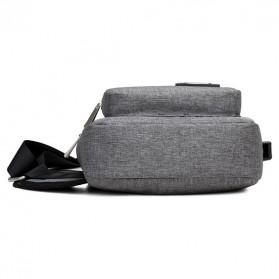 Dxyizu Tas Selempang Crossbody Bag dengan USB Charger Port - dxyz817 - Gray - 6
