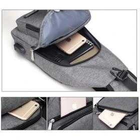 Dxyizu Tas Selempang Crossbody Bag dengan USB Charger Port - dxyz817 - Gray - 8