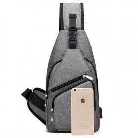 Dxyizu Tas Selempang Crossbody Bag dengan USB Charger Port - dxyz817 - Gray - 9