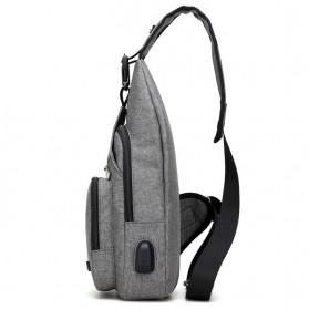 Dxyizu Tas Selempang Crossbody Bag dengan USB Charger Port - dxyz817 - Gray - 10