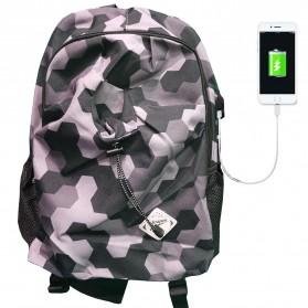 Leaper Tas Ransel Kampus dengan USB Charger Port - Black
