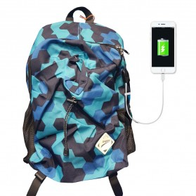 Leaper Tas Ransel Kampus dengan USB Charger Port - Blue