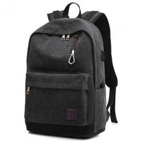Tas Ransel Backpack Oxford dengan USB Charger Port - Black
