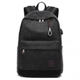Tas Ransel Backpack Oxford dengan USB Charger Port - Black - 2