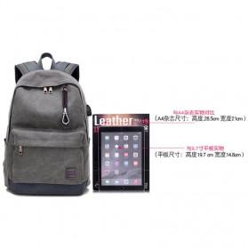 Tas Ransel Backpack Oxford dengan USB Charger Port - Black - 4