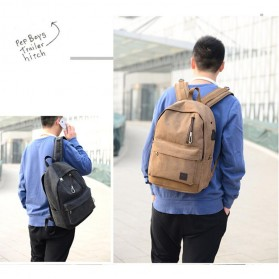 Tas Ransel Backpack Oxford dengan USB Charger Port - Black - 5