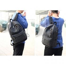 Tas Ransel Backpack Oxford dengan USB Charger Port - Black - 6