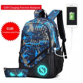 Tas Ransel Luminous dengan USB Charger Port - Blue/Gray