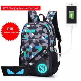 Tas Ransel Luminous dengan USB Charger Port - Blue
