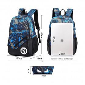 Tas Ransel Luminous dengan USB Charger Port - Blue - 3