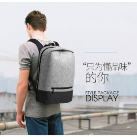 Tas Ransel Laptop Kampus dengan USB Charger Port - Gray - 2